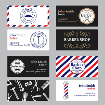 Set of barber shop business card on black and white background.