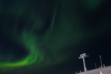 aurora borealis in Levi ski resort, Finland