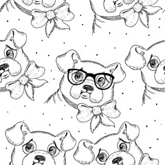 Black and white vector sketch of a dog. Vector pattern