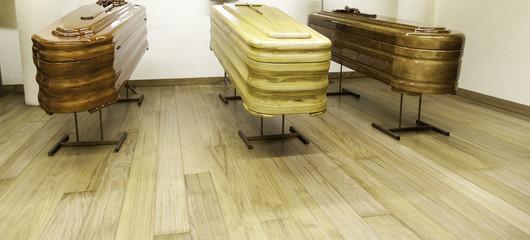 Wooden coffins exhibition