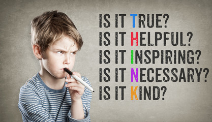 Think motivational netiquette, Boy on grunge background