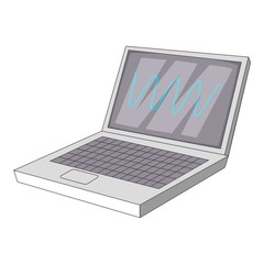 laptop with sound waves icon, cartoon style