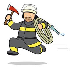 Cartoon Feuerwehrmann rennt zum Einsatz