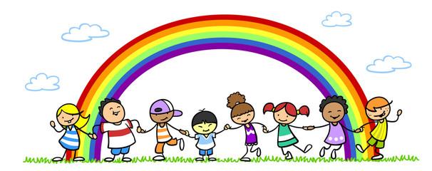 Gruppe Kinder beim Tanzen unter Regenbogen