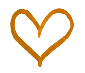 The outline of the amber orange heart drawn with paint on white background