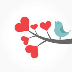 Bird on heart branch