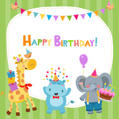 Cute Birthday Card With Animals
