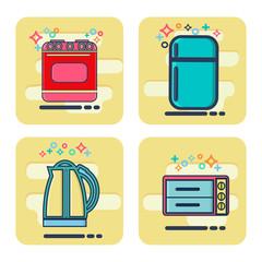 Line icons set with flat design elements Kitchen appliances
