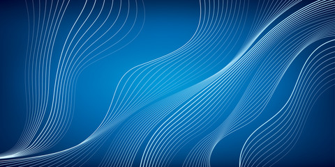 Waves of white lines, blue mesh background, abstract wallpaper, vector design