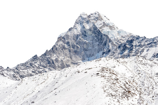 Snowy peak isolated over white background (Ama Dablam in the Everest region