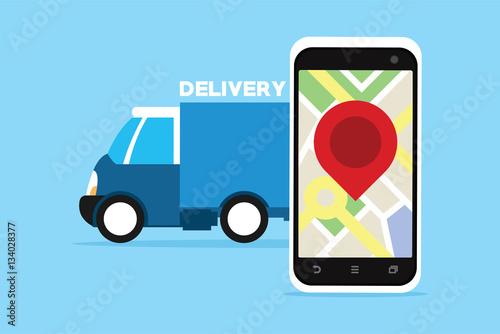 delivery service truck with gps tracking stockfotos und lizenzfreie vektoren auf. Black Bedroom Furniture Sets. Home Design Ideas