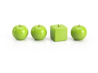 Anders sein, Individualität, Einzigartigkeit, Persönlichkeit – grüne Äpfel in einer Reihe