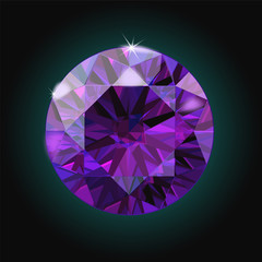 Brilliant Amethyst purple crystal gem sparkles black background vector