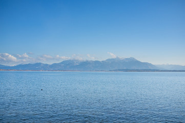 Chiemsee with the Bavarian Alps in the background
