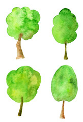 Watercolor collection of green trees