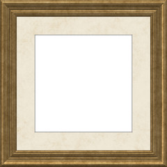 Golden picture frame with beige passepartout.