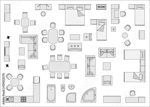 "Office Furniture Symbols For Floor Plans: ""Home Furniture Top View "" Imagens E Vetores De Stock"