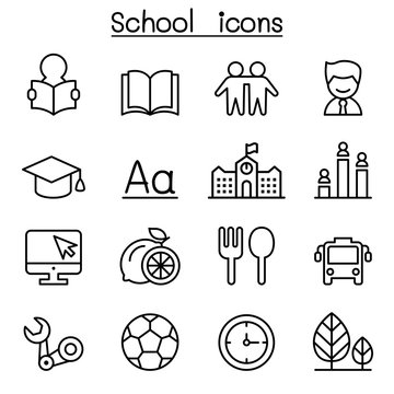 School & Education icon set in thin line style
