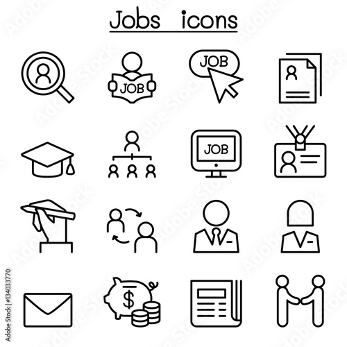u0026quot jobs icon set in thin line style u0026quot  stock image and royalty
