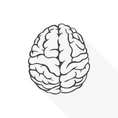 Human brain icon - vector Illustration with long shadow