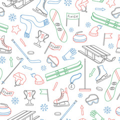 Seamless pattern on the theme of winter sports, simple colored outline on a white background
