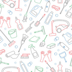 Seamless pattern on the theme of cleaning and household equipment and cleaning products, simple colored contour icons on white background