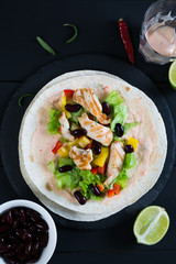 Chicken with vegetables wrapped in a tortilla