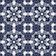 Seamless Blue Japanese Background Spiral Oval Polygon Cross Flower