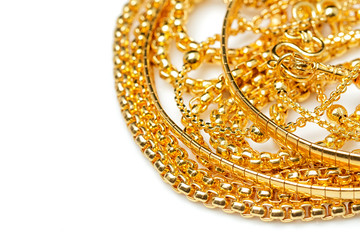 Group of many design gold jewelry necklace and bracelets