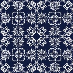 Seamless Blue Japanese Background Curve Spiral Cross Flower