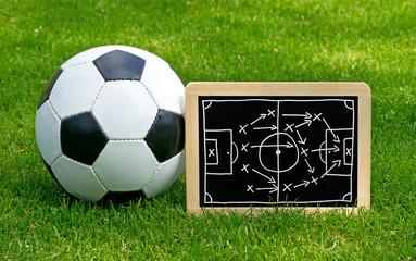 Fussball Taktik Kreidetafel mit Lederball auf grünem Rasen