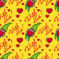 "Seamless pattern with hearts, gnomes and sign ""With love!"". Vector clip art."