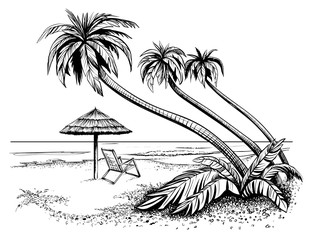 Ocean or sea beach with palms, sketch. Black and white vector illustration of island shore with umbrella and chaise longue. Hand drawn seaside view.