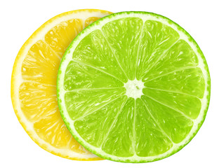 Juicy slice of lime and lemon isolated on white, with clipping path