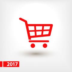 shopping cart icon, vector illustration. Flat design style