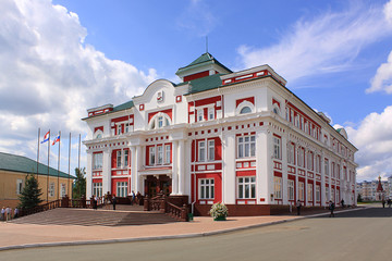 Summer view at streets of Saransk. Historical building