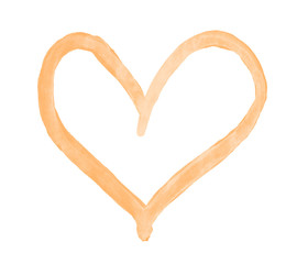 The outline of the peach heart drawn with paint on white background