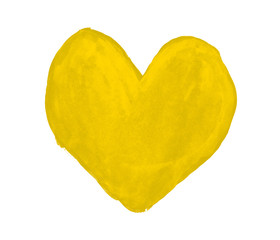 Yellow heart painted with gouache