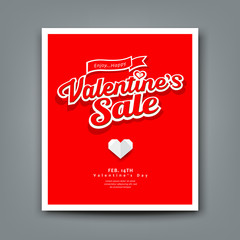 Happy Valentines day sale on red background vector illustrations