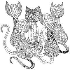 Doodle cats illustration
