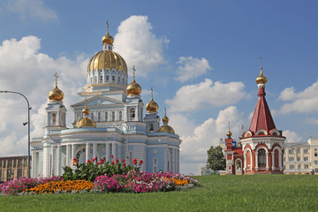 View at the chapel and cathedral of St Warrior Admiral Feodor Ushakov in Saransk, Mordovia. Russian Federation