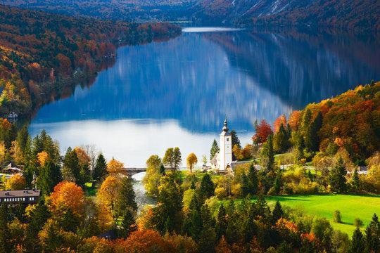Aerial view of Bohinj lake in Julian Alps, Slovenia
