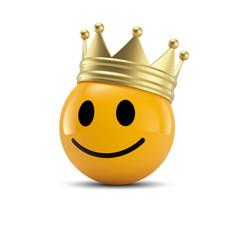 Happy Smiley Emoticon mit Krone: Kunde ist König