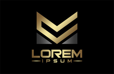 military line logo in gold and metal color