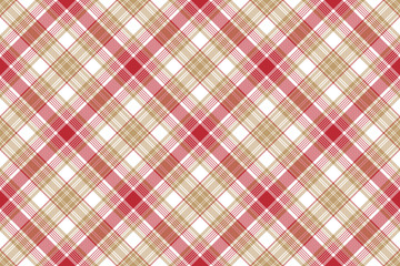 Beige red white plaid seamless background