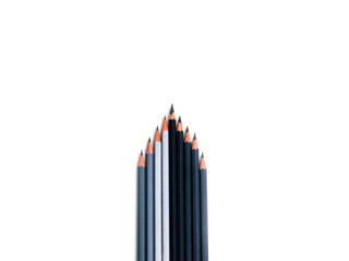 Leadership concept - form arrows dark gray pencils with one outstanding gray