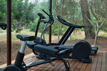 Gym with fitness equipment in forest