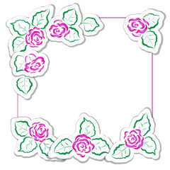 Cute vector frames for Valentine's Day and other holidays. Square labels for the text and border of roses.