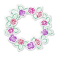 Cute vector frames for Valentine's day and other holidays. Round labels for the text and border of roses.