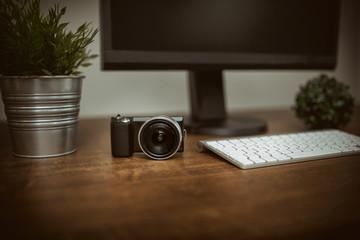 Digital camera on the desk